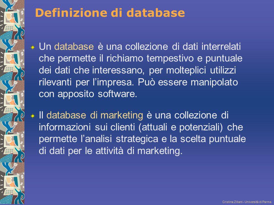 Cristina Ziliani - Università di Parma Definizione di database Un database è una collezione di dati interrelati che permette il richiamo tempestivo e