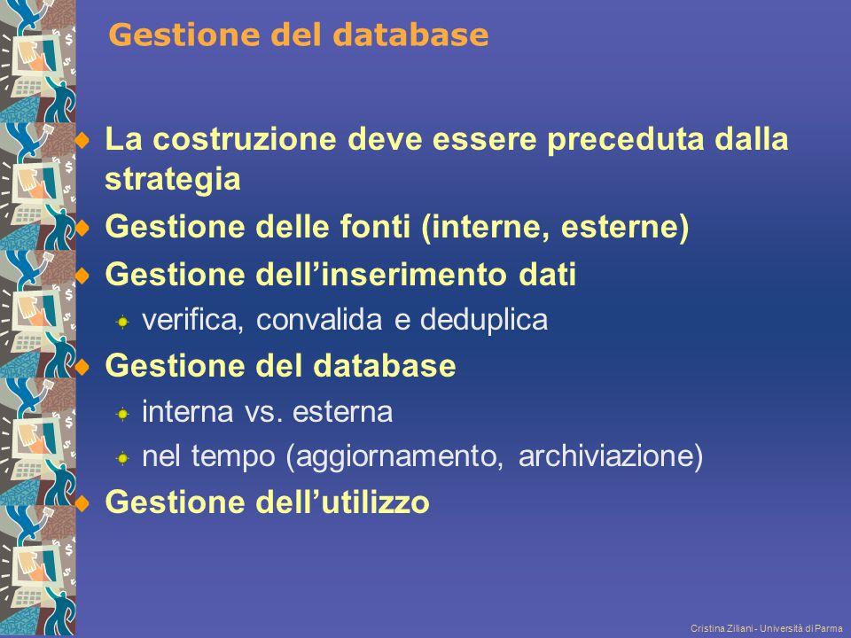 Cristina Ziliani - Università di Parma Gestione del database La costruzione deve essere preceduta dalla strategia Gestione delle fonti (interne, ester