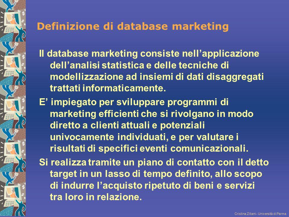 Cristina Ziliani - Università di Parma Definizione di database marketing Il database marketing consiste nell'applicazione dell'analisi statistica e de