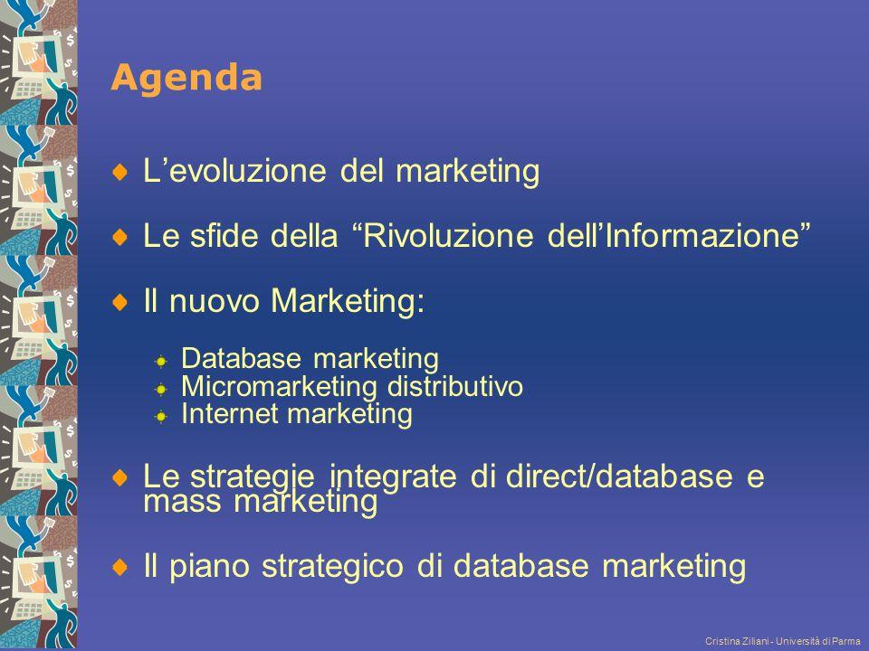 """Cristina Ziliani - Università di Parma Agenda L'evoluzione del marketing Le sfide della """"Rivoluzione dell'Informazione"""" Il nuovo Marketing: Database m"""
