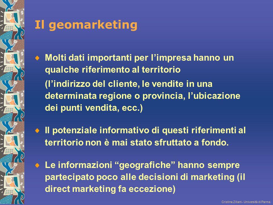 Cristina Ziliani - Università di Parma Il geomarketing Molti dati importanti per l'impresa hanno un qualche riferimento al territorio (l'indirizzo del