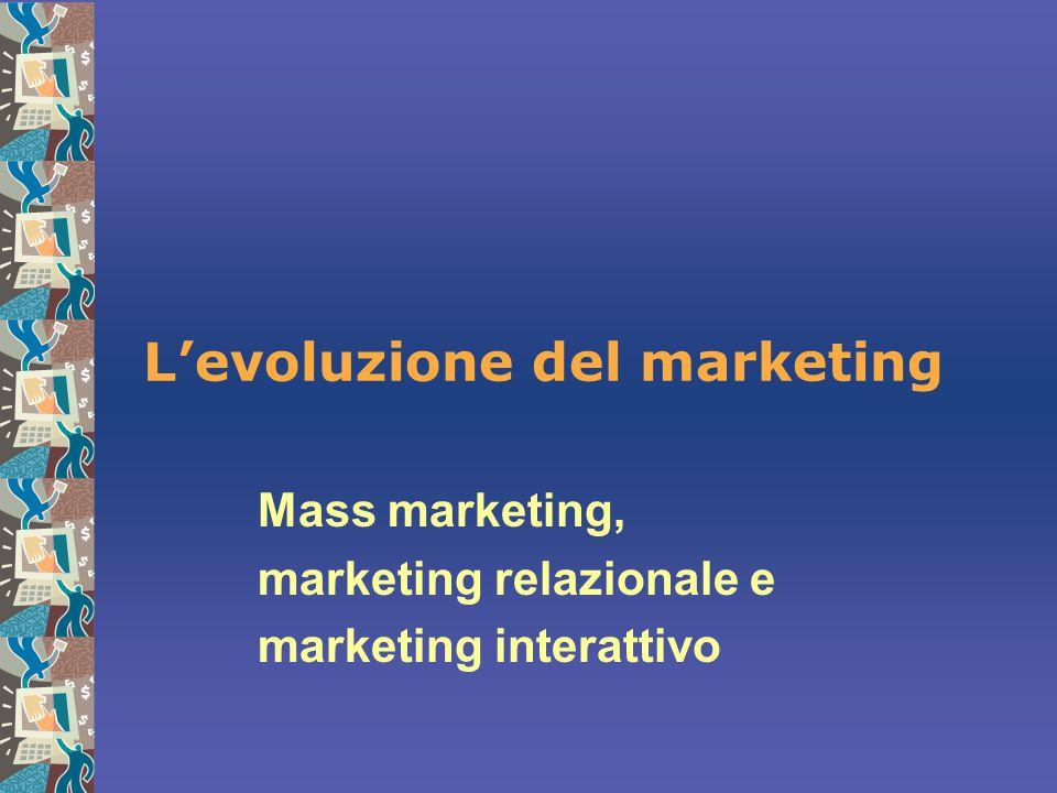 L'evoluzione del marketing Mass marketing, marketing relazionale e marketing interattivo
