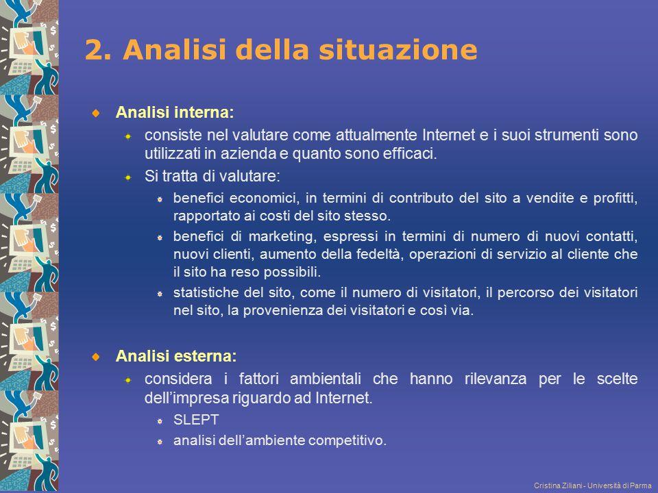 Cristina Ziliani - Università di Parma 2. Analisi della situazione Analisi interna: consiste nel valutare come attualmente Internet e i suoi strumenti