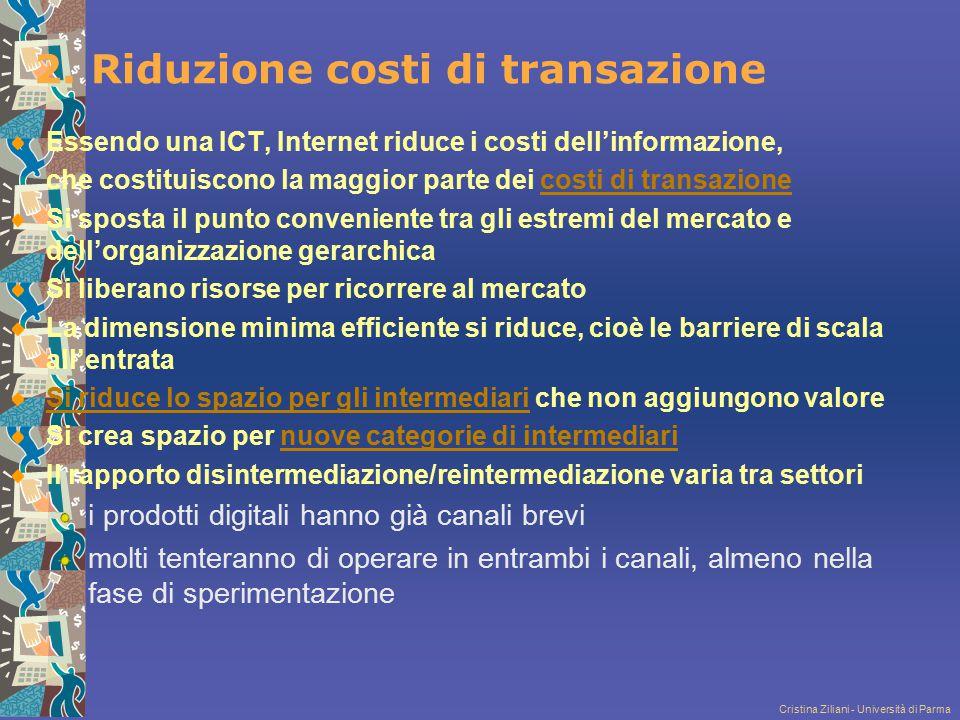 Cristina Ziliani - Università di Parma 2. Riduzione costi di transazione Essendo una ICT, Internet riduce i costi dell'informazione, che costituiscono