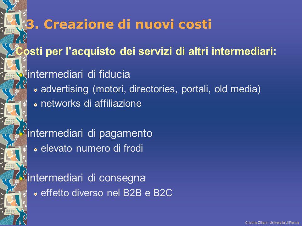 Cristina Ziliani - Università di Parma 3. Creazione di nuovi costi Costi per l'acquisto dei servizi di altri intermediari: intermediari di fiducia adv