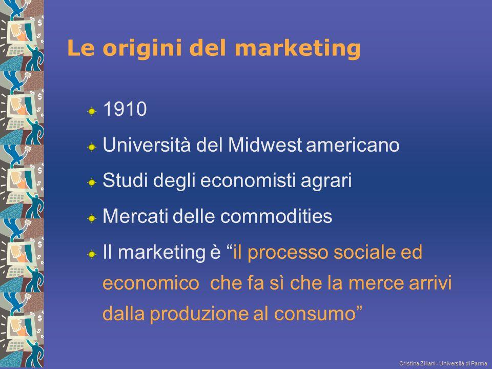 Cristina Ziliani - Università di Parma 1948 American Marketing Association Il marketing è l'insieme di attività aziendali che mirano a gestire il flusso dei beni/servizi verso gli utilizzatori finali Il marketing è un insieme di attività realizzate dall'impresa, che è l'unico soggetto attivo che decide Cosa è successo.