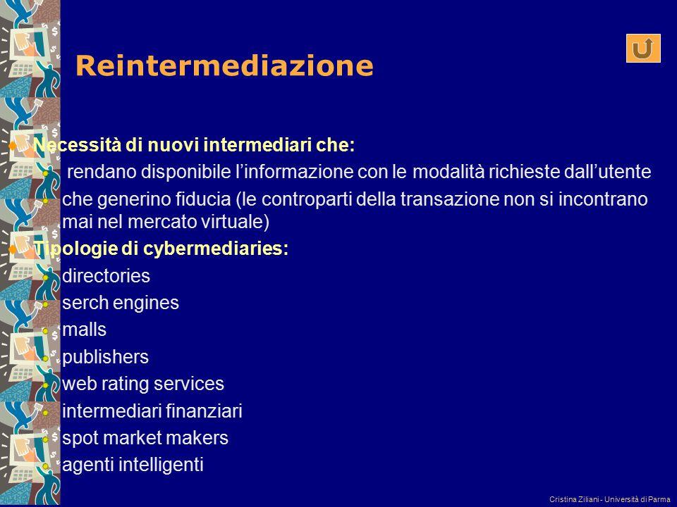 Cristina Ziliani - Università di Parma Reintermediazione Necessità di nuovi intermediari che: rendano disponibile l'informazione con le modalità richi