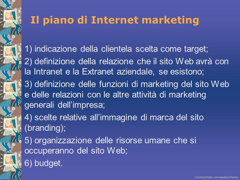 Cristina Ziliani - Università di Parma Il piano di Internet marketing 1) indicazione della clientela scelta come target; 2) definizione della relazion