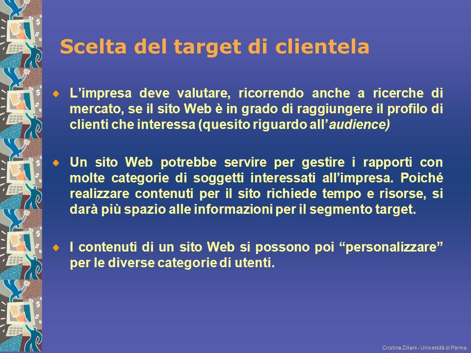 Cristina Ziliani - Università di Parma Scelta del target di clientela L'impresa deve valutare, ricorrendo anche a ricerche di mercato, se il sito Web