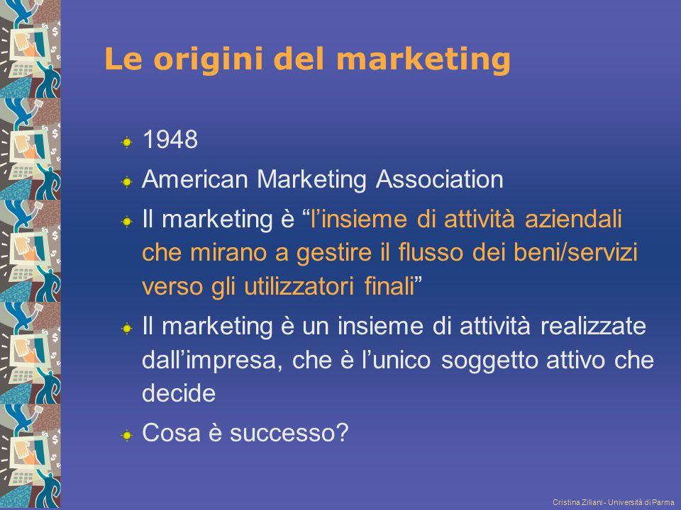 """Cristina Ziliani - Università di Parma 1948 American Marketing Association Il marketing è """"l'insieme di attività aziendali che mirano a gestire il flu"""