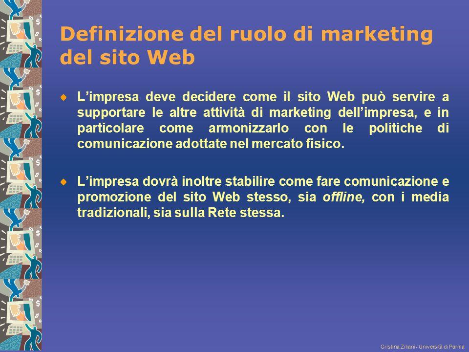 Cristina Ziliani - Università di Parma Definizione del ruolo di marketing del sito Web L'impresa deve decidere come il sito Web può servire a supporta