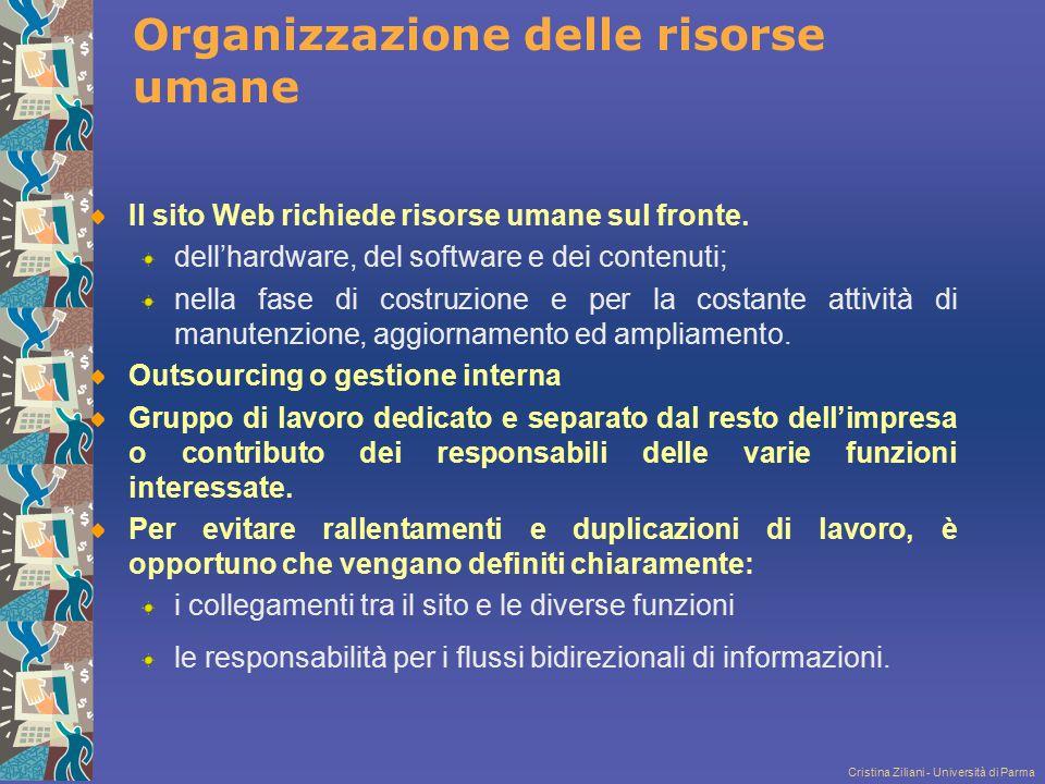 Cristina Ziliani - Università di Parma Organizzazione delle risorse umane Il sito Web richiede risorse umane sul fronte. dell'hardware, del software e