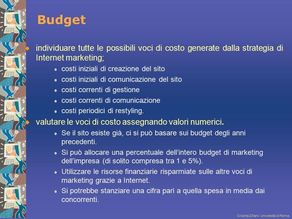Cristina Ziliani - Università di Parma Budget individuare tutte le possibili voci di costo generate dalla strategia di Internet marketing; costi inizi