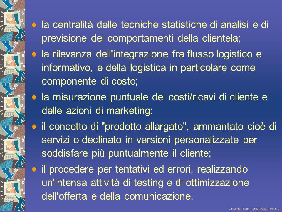 Cristina Ziliani - Università di Parma la centralità delle tecniche statistiche di analisi e di previsione dei comportamenti della clientela; la rilev