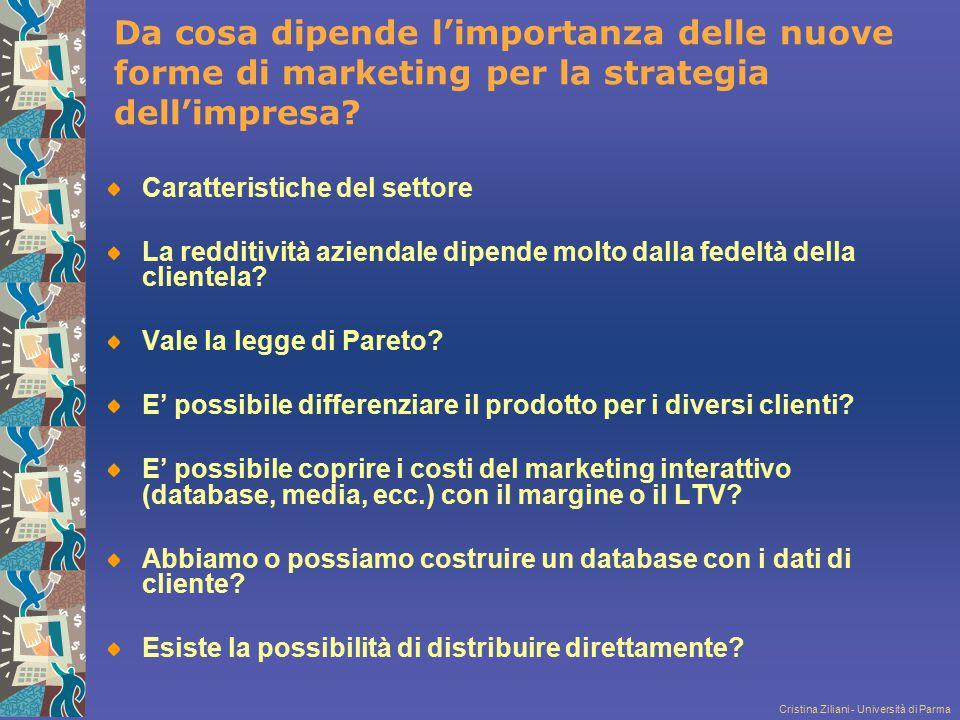 Cristina Ziliani - Università di Parma Da cosa dipende l'importanza delle nuove forme di marketing per la strategia dell'impresa? Caratteristiche del