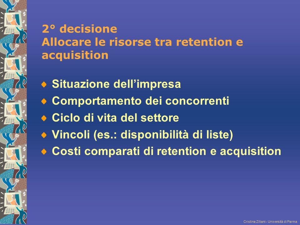 Cristina Ziliani - Università di Parma 2° decisione Allocare le risorse tra retention e acquisition Situazione dell'impresa Comportamento dei concorre