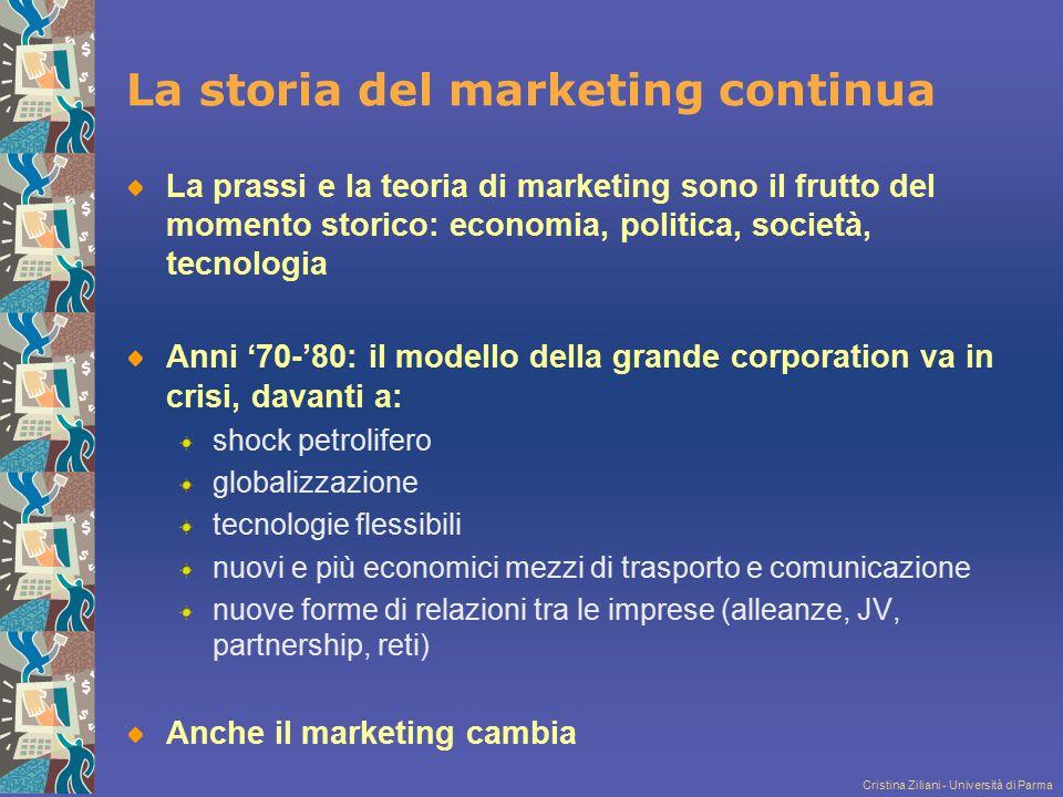 Cristina Ziliani - Università di Parma La storia del marketing continua La prassi e la teoria di marketing sono il frutto del momento storico: economi