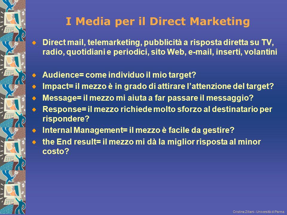 Cristina Ziliani - Università di Parma I Media per il Direct Marketing Direct mail, telemarketing, pubblicità a risposta diretta su TV, radio, quotidi