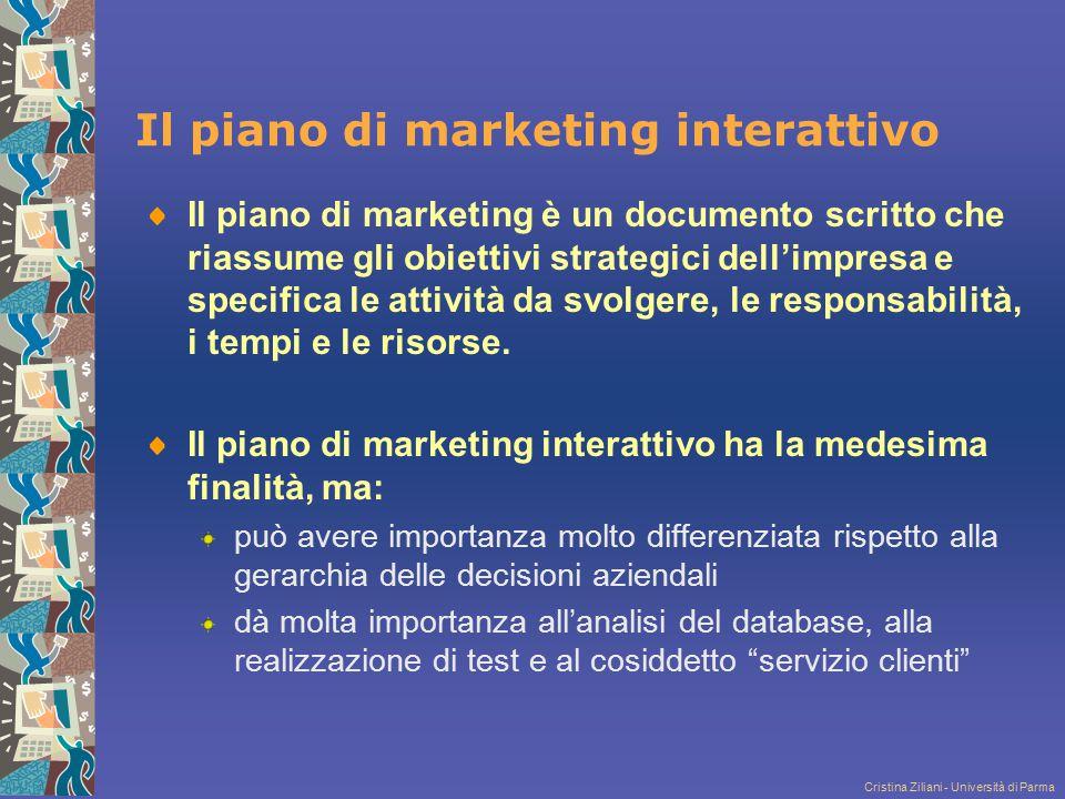 Cristina Ziliani - Università di Parma Il piano di marketing interattivo Il piano di marketing è un documento scritto che riassume gli obiettivi strat