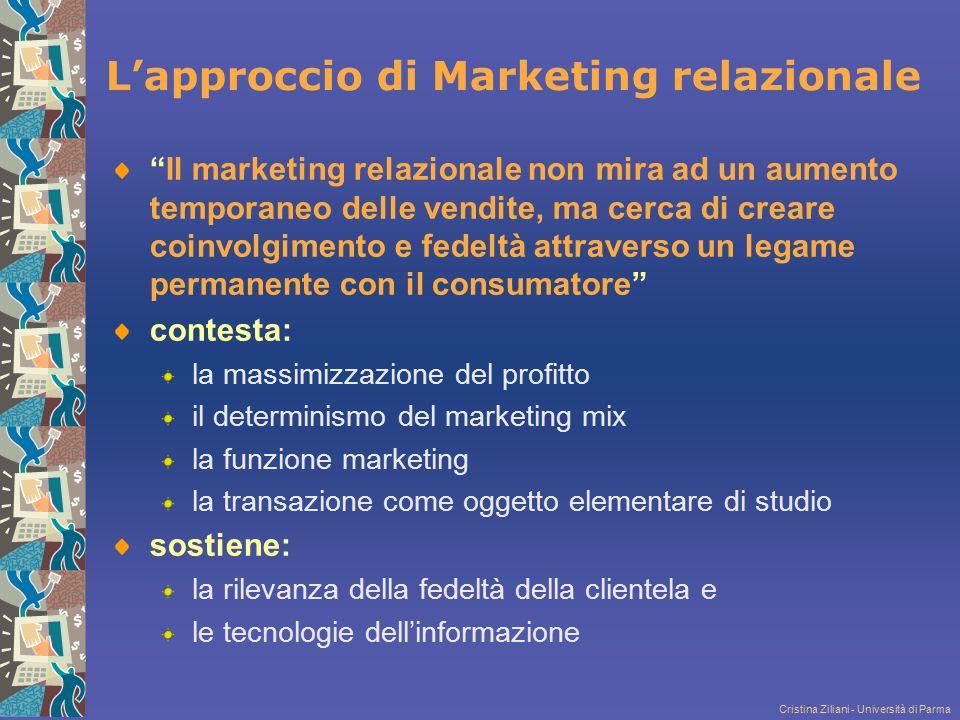 Cristina Ziliani - Università di Parma Definizione di database marketing Il database marketing consiste nell'applicazione dell'analisi statistica e delle tecniche di modellizzazione ad insiemi di dati disaggregati trattati informaticamente.