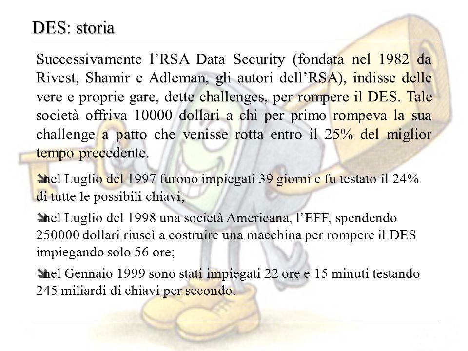 DES: storia Successivamente l'RSA Data Security (fondata nel 1982 da Rivest, Shamir e Adleman, gli autori dell'RSA), indisse delle vere e proprie gare