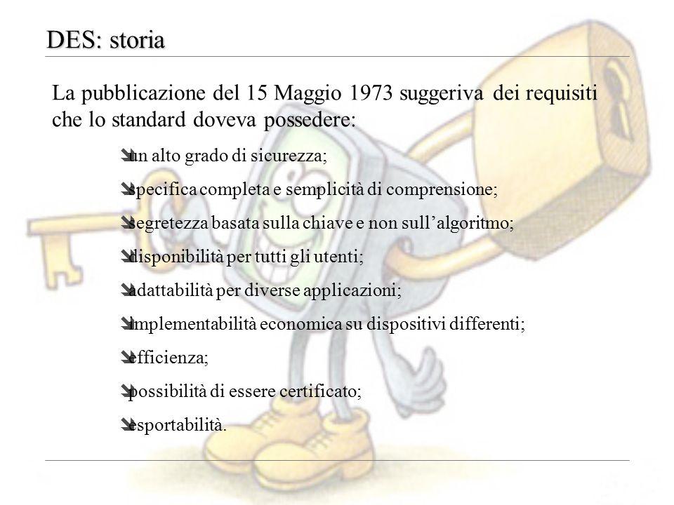 DES: storia La pubblicazione del 15 Maggio 1973 suggeriva dei requisiti che lo standard doveva possedere: îun alto grado di sicurezza; îspecifica comp