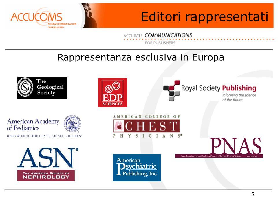 5 Editori rappresentati Rappresentanza esclusiva in Europa