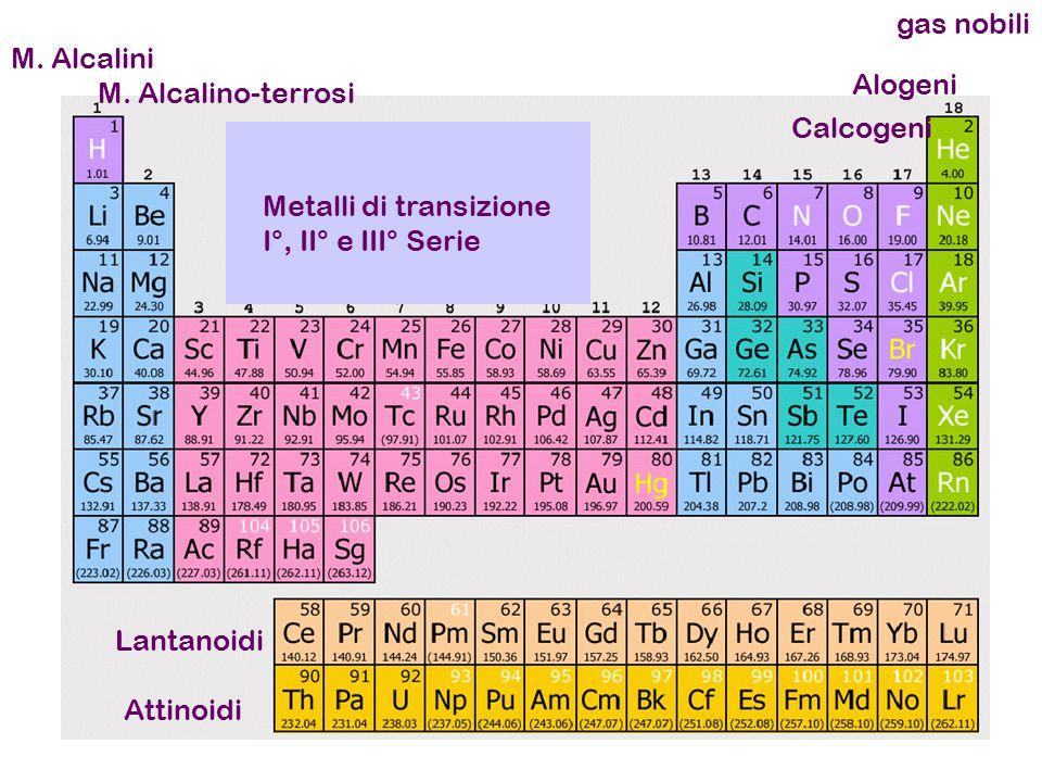M. Alcalini M. Alcalino-terrosi Alogeni Calcogeni gas nobili Lantanoidi Attinoidi Metalli di transizione I°, II° e III° Serie
