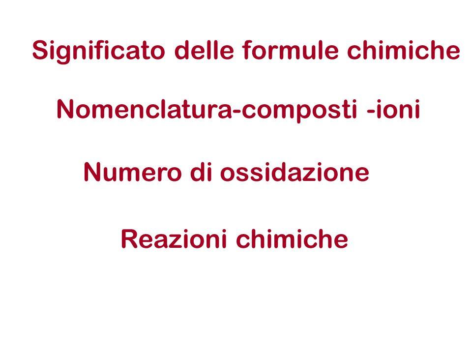 Significato delle formule chimiche Nomenclatura-composti -ioni Numero di ossidazione Reazioni chimiche