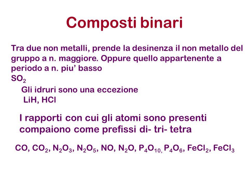 Composti binari Tra due non metalli, prende la desinenza il non metallo del gruppo a n. maggiore. Oppure quello appartenente a periodo a n. piu' basso