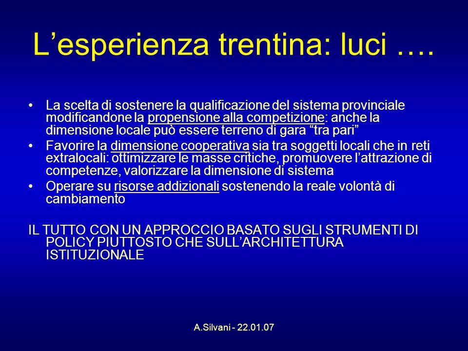 A.Silvani - 22.01.07 L'esperienza trentina: luci ….