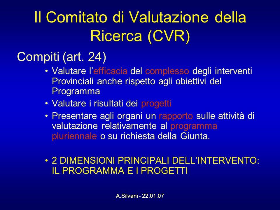 A.Silvani - 22.01.07 Il Comitato di Valutazione della Ricerca (CVR) Compiti (art.