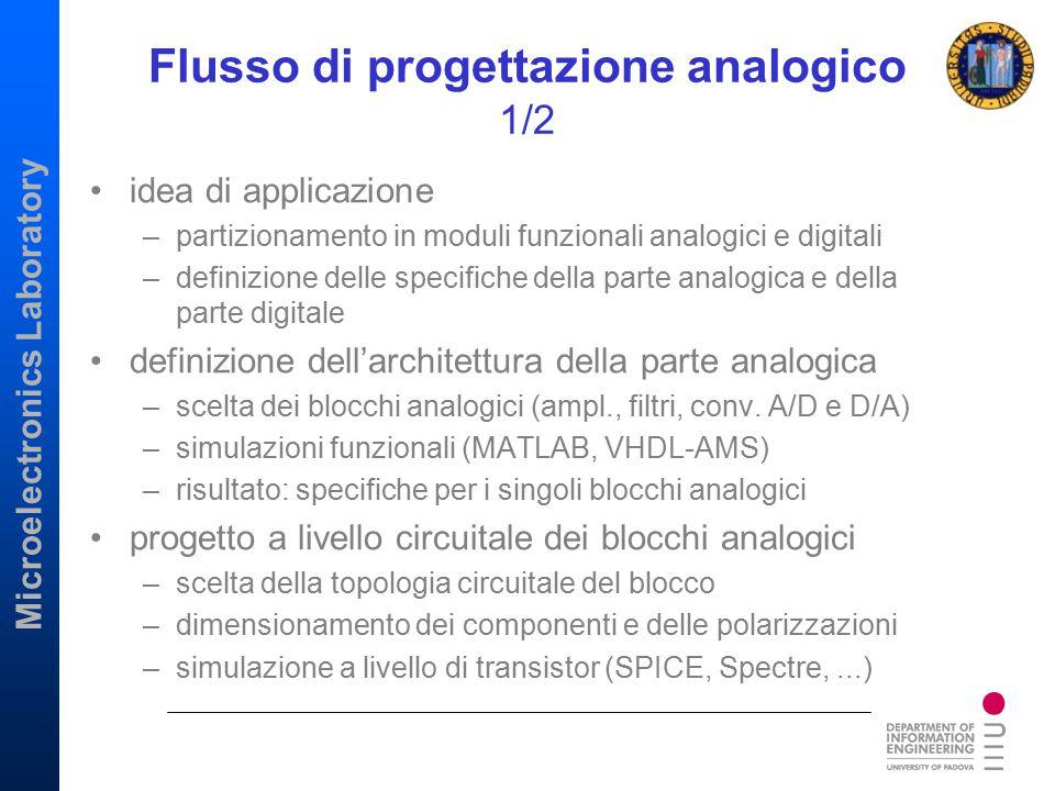 Microelectronics Laboratory Flusso di progettazione analogico 1/2 idea di applicazione –partizionamento in moduli funzionali analogici e digitali –def