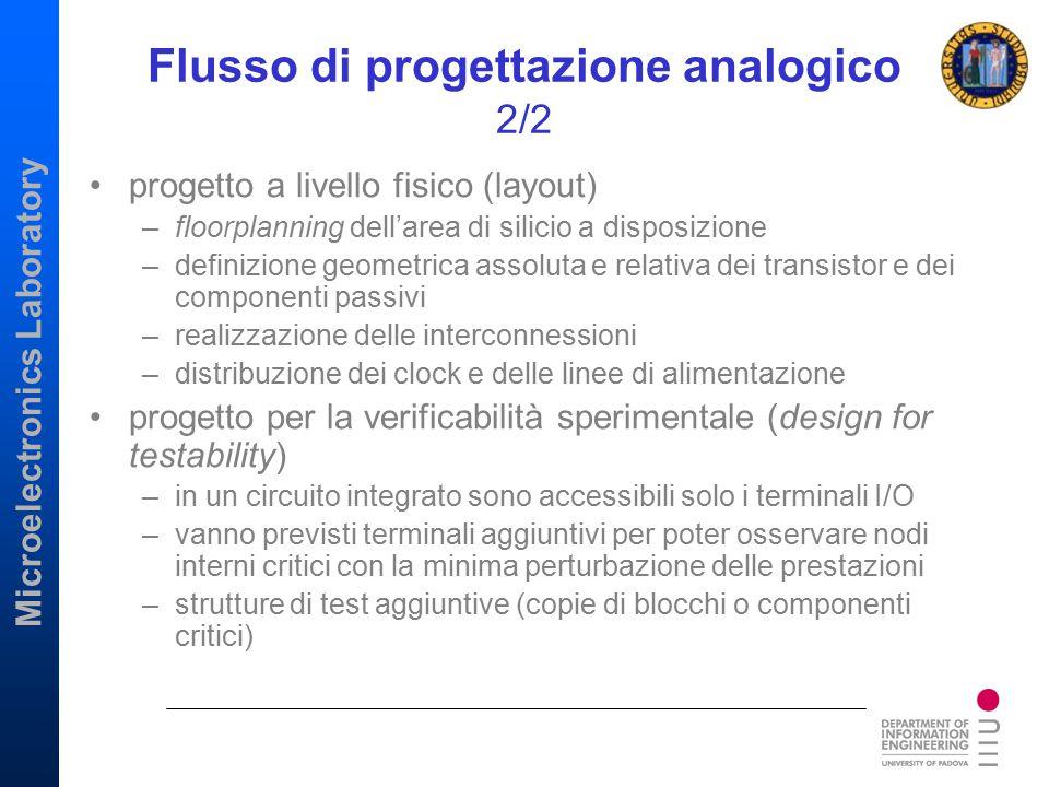 Microelectronics Laboratory Flusso di progettazione analogico 2/2 progetto a livello fisico (layout) –floorplanning dell'area di silicio a disposizion