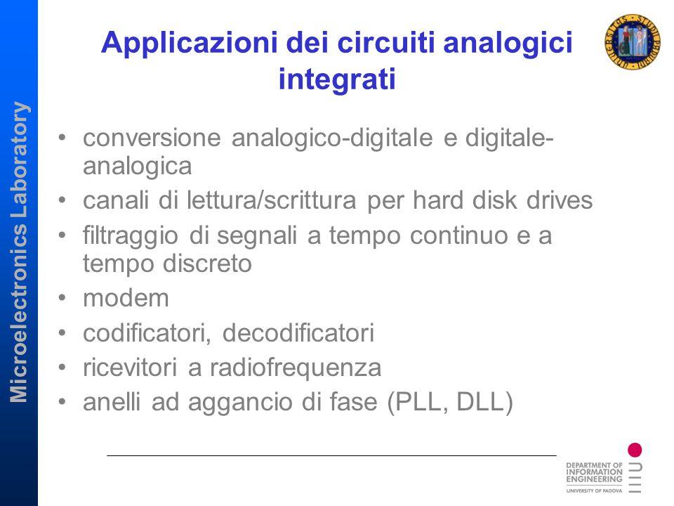 Microelectronics Laboratory Applicazioni dei circuiti analogici integrati conversione analogico-digitale e digitale- analogica canali di lettura/scrit