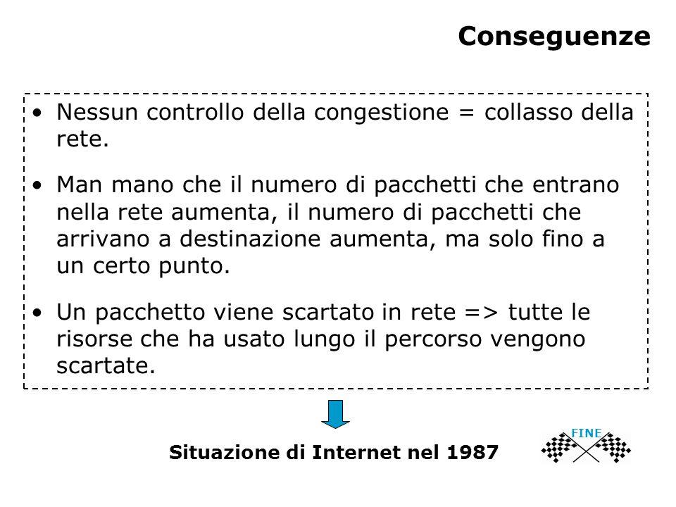 Conseguenze Nessun controllo della congestione = collasso della rete. Man mano che il numero di pacchetti che entrano nella rete aumenta, il numero di