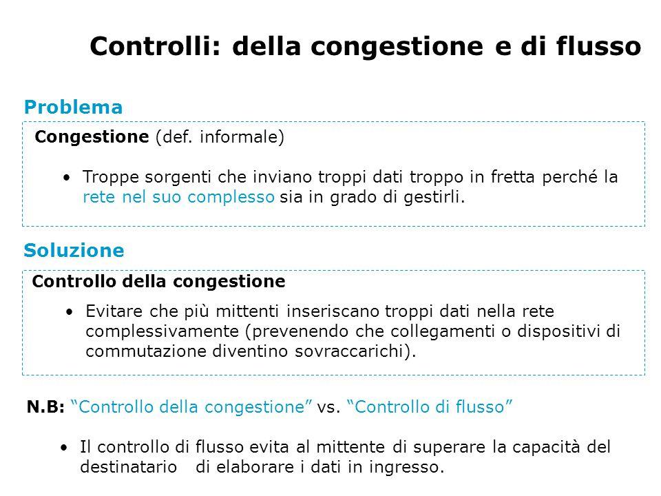 Controlli: della congestione e di flusso Problema Controllo della congestione Evitare che più mittenti inseriscano troppi dati nella rete complessivamente (prevenendo che collegamenti o dispositivi di commutazione diventino sovraccarichi).