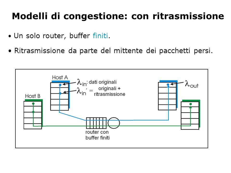 Modelli di congestione: con ritrasmissione Un solo router, buffer finiti. Ritrasmissione da parte del mittente dei pacchetti persi.