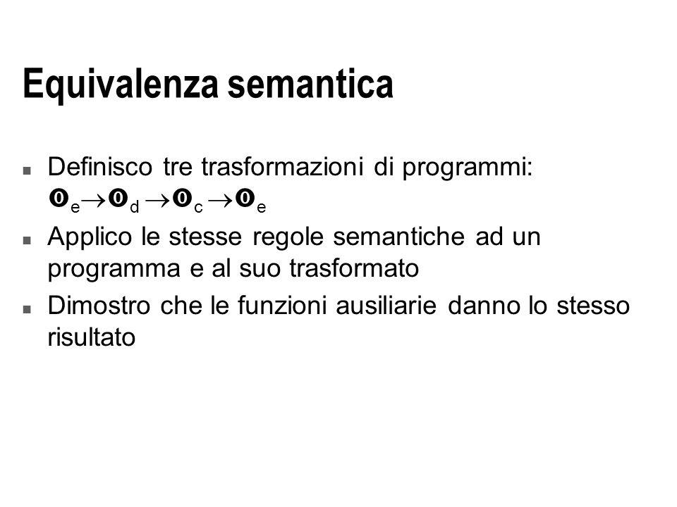 Equivalenza semantica n Definisco tre trasformazioni di programmi:  e   d   c   e n Applico le stesse regole semantiche ad un programma e al suo trasformato n Dimostro che le funzioni ausiliarie danno lo stesso risultato