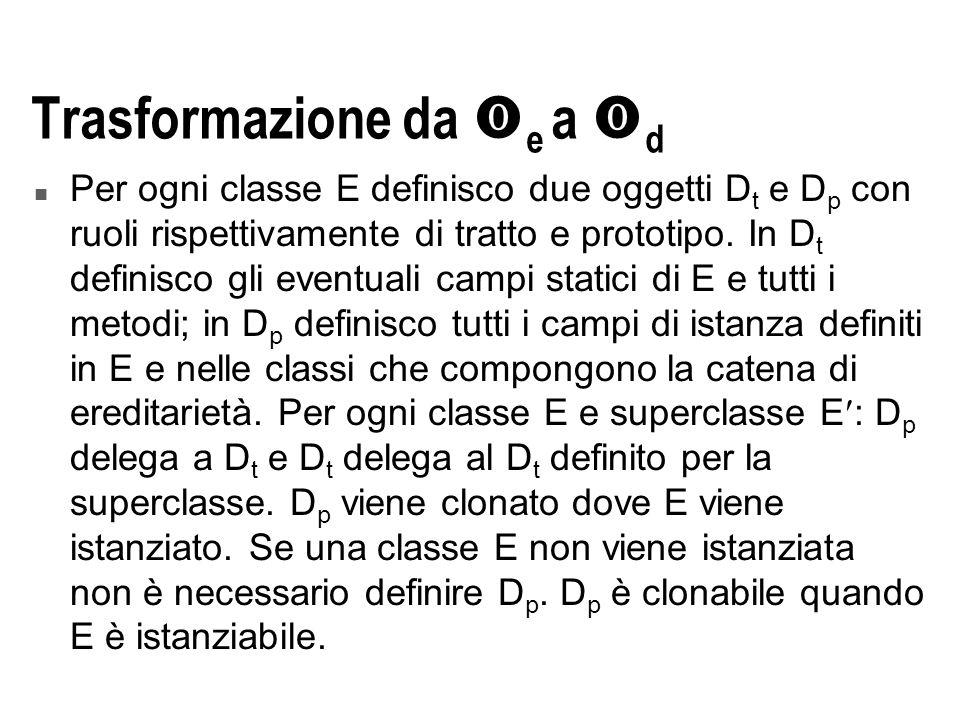 Trasformazione da  e a  d n Per ogni classe E definisco due oggetti D t e D p con ruoli rispettivamente di tratto e prototipo.