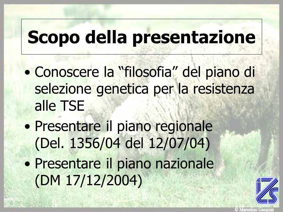 Scopo della presentazione Conoscere la filosofia del piano di selezione genetica per la resistenza alle TSE Presentare il piano regionale (Del.