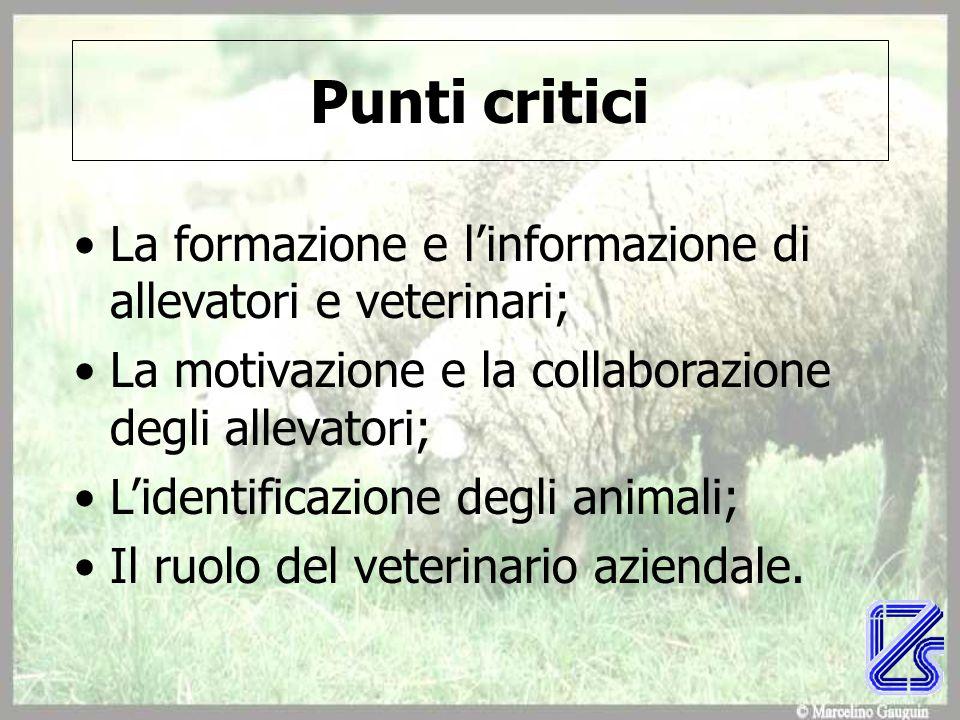 Punti critici La formazione e l'informazione di allevatori e veterinari; La motivazione e la collaborazione degli allevatori; L'identificazione degli animali; Il ruolo del veterinario aziendale.