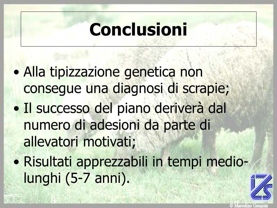 Conclusioni Alla tipizzazione genetica non consegue una diagnosi di scrapie; Il successo del piano deriverà dal numero di adesioni da parte di allevatori motivati; Risultati apprezzabili in tempi medio- lunghi (5-7 anni).