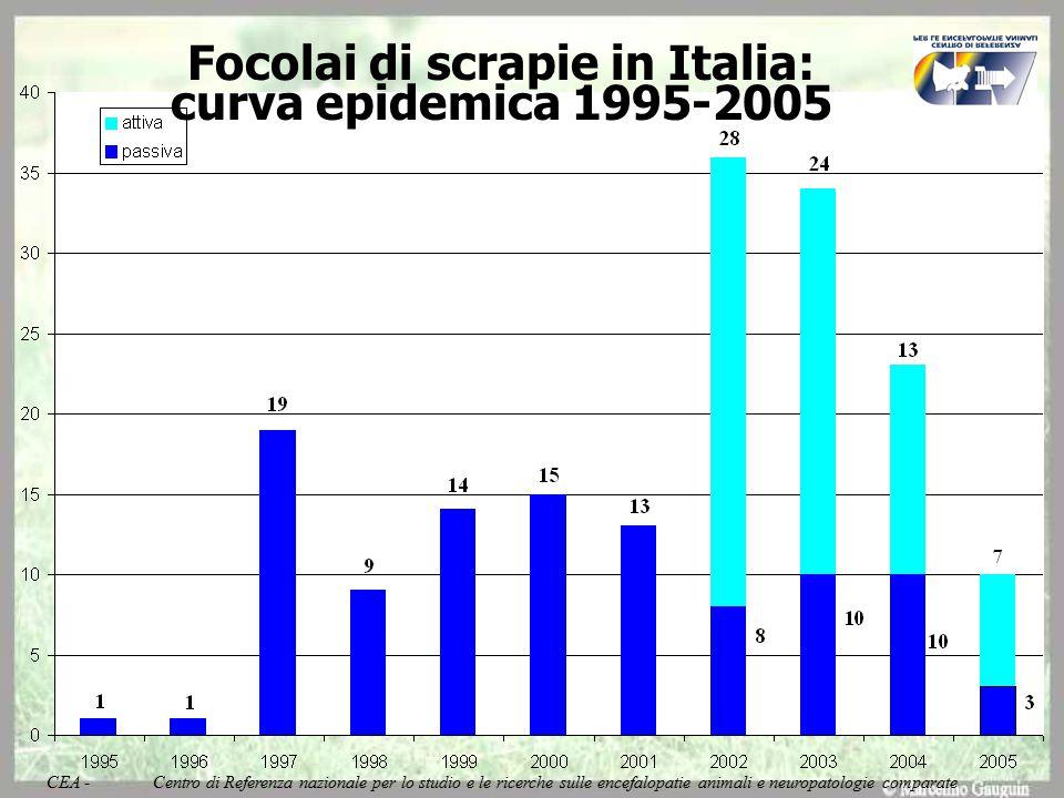 Focolai di scrapie in Italia: curva epidemica 1995-2005 CEA - Centro di Referenza nazionale per lo studio e le ricerche sulle encefalopatie animali e neuropatologie comparate