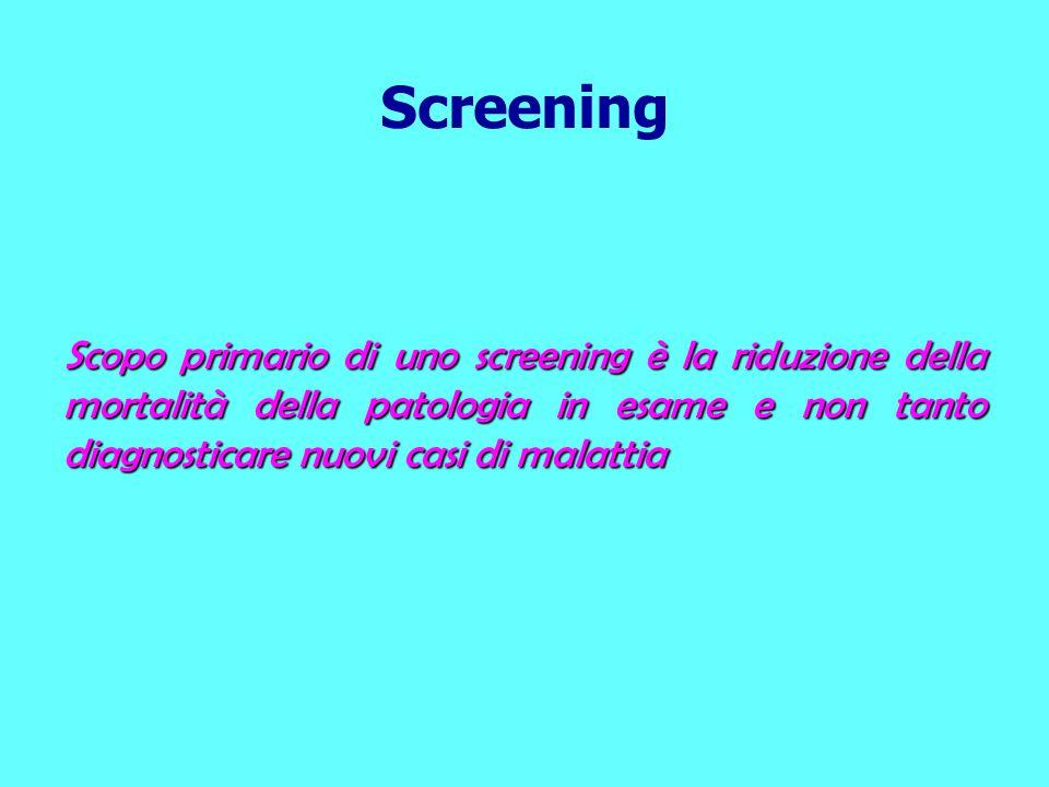 Scopo primario di uno screening è la riduzione della mortalità della patologia in esame e non tanto diagnosticare nuovi casi di malattia Screening