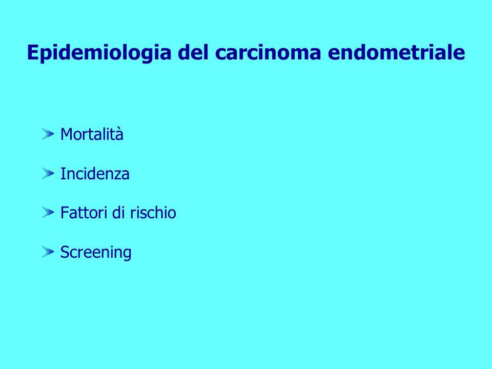 Epidemiologia del carcinoma endometriale Mortalità Incidenza Fattori di rischio Screening