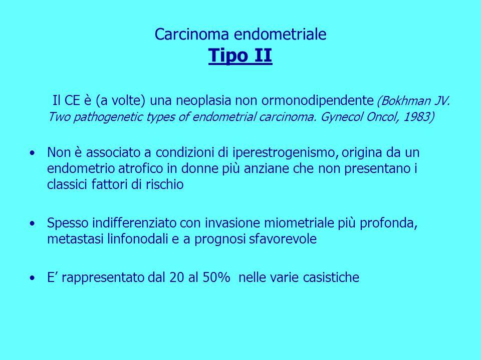 Carcinoma endometriale Tipo II Il CE è (a volte) una neoplasia non ormonodipendente (Bokhman JV.