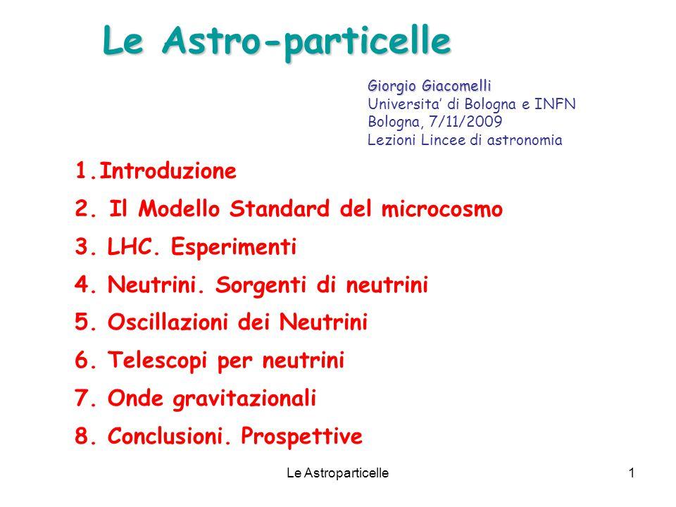 Le Astroparticelle1 Le Astro-particelle 1.Introduzione 2. Il Modello Standard del microcosmo 3. LHC. Esperimenti 4. Neutrini. Sorgenti di neutrini 5.
