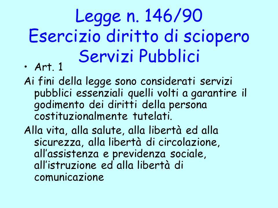 Legge n. 146/90 Esercizio diritto di sciopero Servizi Pubblici Art. 1 Ai fini della legge sono considerati servizi pubblici essenziali quelli volti a