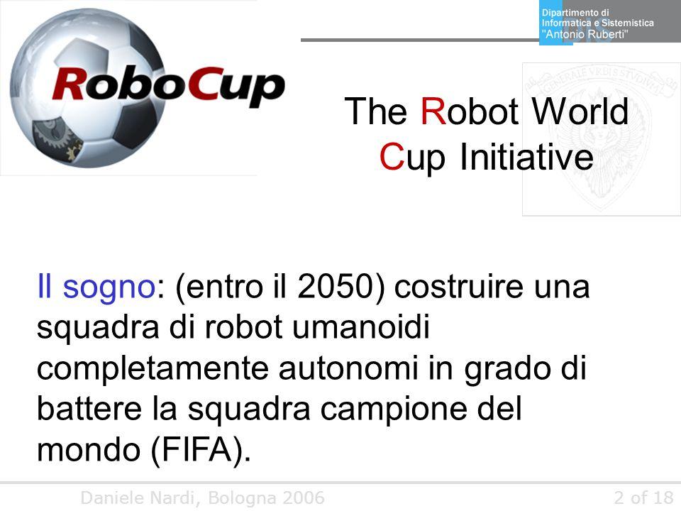 Daniele Nardi, Bologna 20062 of 18 The Robot World Cup Initiative Il sogno: (entro il 2050) costruire una squadra di robot umanoidi completamente auto